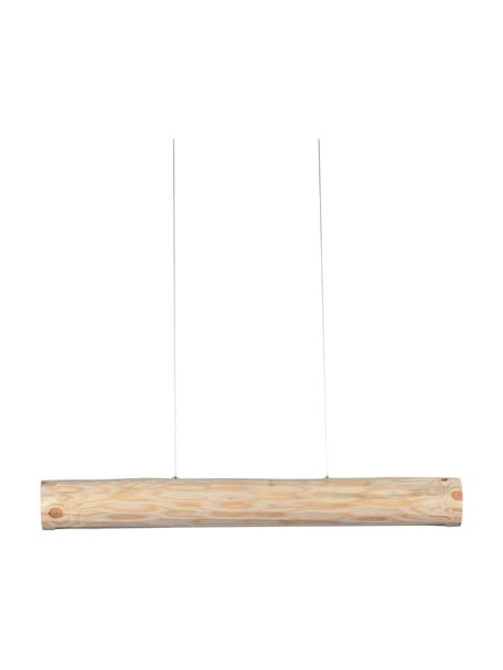 Lámpara de techo grande LED de madera Lucas, Pantalla: madera de pino natural, Anclaje: metal recubierto, Cable: plástico, Beige, An 90 x Al 112 cm