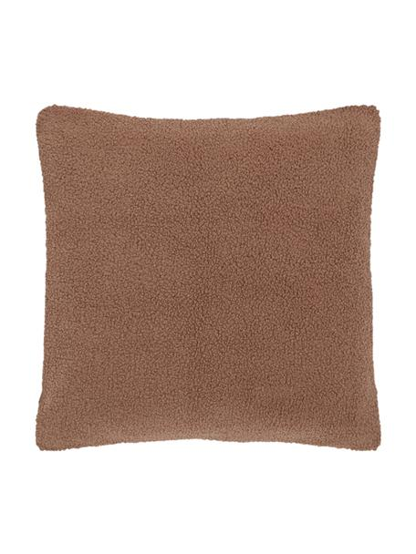 Flauschige Teddy-Kissenhülle Mille in Braun, Vorderseite: 100% Polyester (Teddyfell, Rückseite: 100% Polyester (Teddyfell, Braun, 60 x 60 cm
