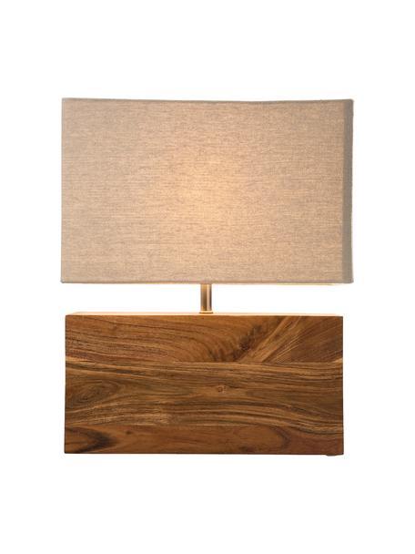 Tischlampe Rectangular aus Akazienholz, Lampenschirm: Baumwolle, Braun, 33 x 43 cm