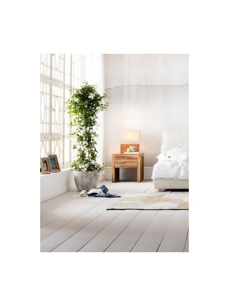 Tafellamp Rectangular van acaciahout, Lampenkap: katoen, Lampvoet: acaciahout, Bruin, 33 x 43 cm