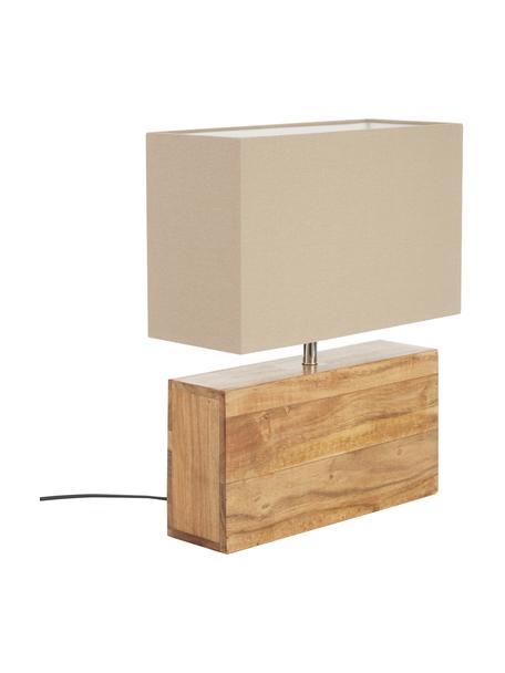 Lámpara de mesa de madera Rectangular, Pantalla: algodón, Marrón, An 33 x Al 43 cm