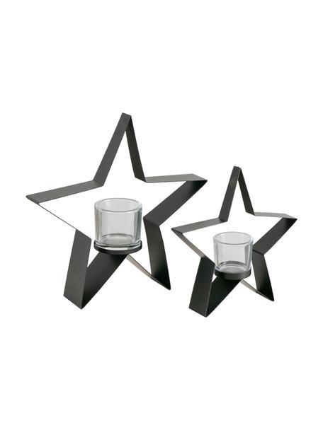 Windlichtenset Naos, 2-delig, Frame: gecoat metaal, Windlicht: glas, Zwart, Set met verschillende formaten