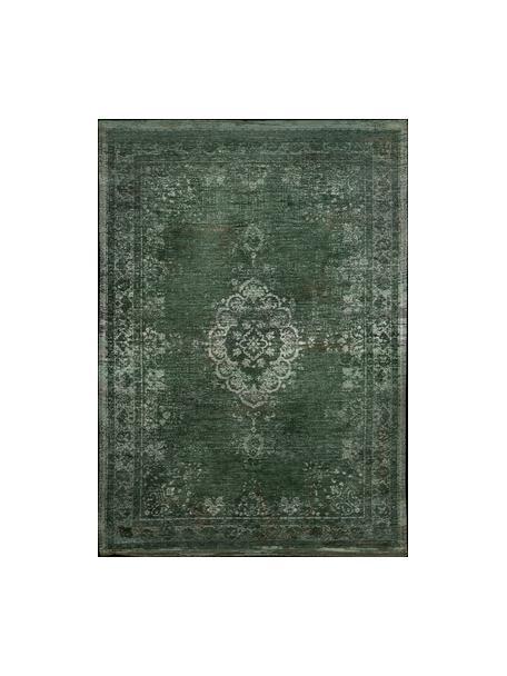 Alfombra de chenilla Medaillon, estilo vintage, Parte superior: 100%chenilla (algodón), Reverso: tejido de chenilla recubi, Verde oscuro, beige, An 80 x L 150 cm (Tamaño XS)