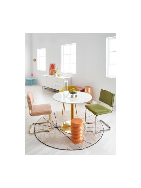 Corduroy-cantilever stoel Kink in olijfgroen, Bekleding: corduroy (88% nylon, 12% , Frame: verchroomd metaal, Poten: kunststof, Groen, B 48 x D 48 cm