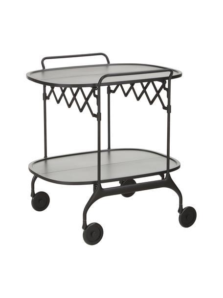 Camarera de metal Gastone, plegable, Estructura: acero pintado, Estante: nylon reforzado con fibra, Negro, An 68 x Al 70 cm