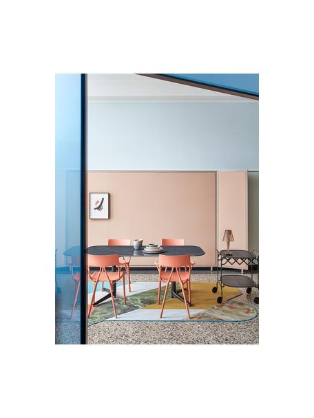 Carrello di servizio in metallo Gastone, Struttura: metallo laccato, Ripiani: nylon, rinforzato con fib, Nero, Larg. 68 x Alt. 70 cm