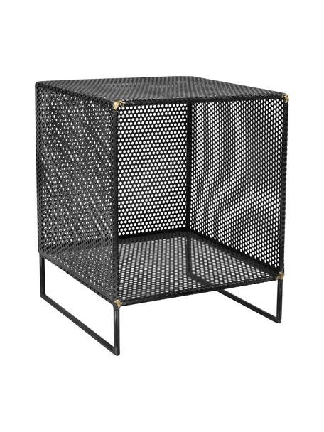 Bijzettafel Loft van metaal, Metaal, ruw geperforeerd met zichtbare messing lasnaden, Zwart, 40 x 50 cm