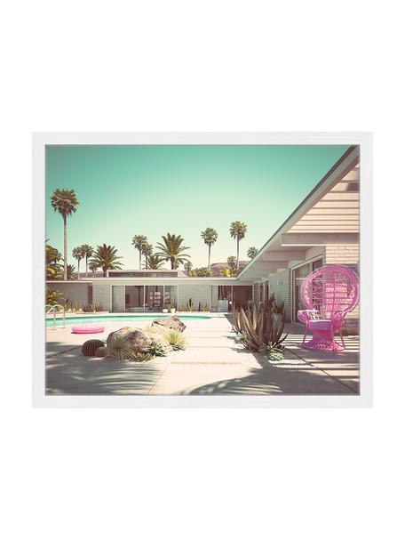 Ingelijste digitale print roze Vacation, Afbeelding: digitale print op papier,, Lijst: gelakt hout, Multicolour, 53 x 43 cm