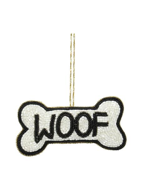Adornos navideños Woof, 2uds., Adornos: cuentas de vidrio, Blanco, negro, An 11 x Al 6 cm