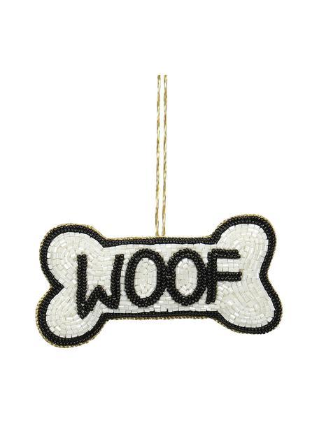 Baumanhänger Woof B 11 cm, 2 Stück, Weiss, Schwarz, 11 x 6 cm