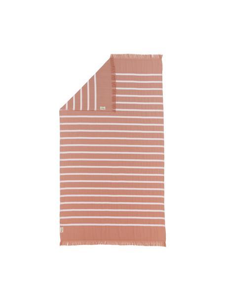 Gestreepte hamamdoek Filena, 100% katoen, Terracottarood, wit, 100 x 180 cm