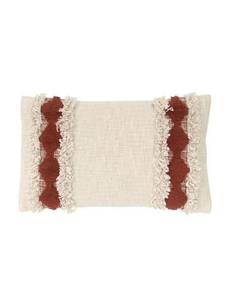 Boho Kissenhülle Yule mit dekorativer Verzierung, 100% Baumwolle, Rot, 30 x 50 cm