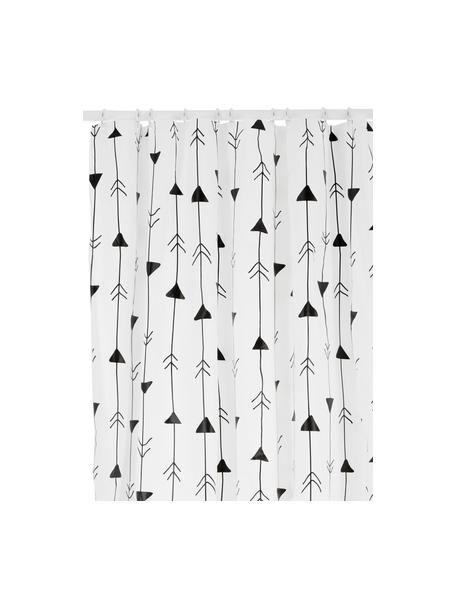 Cortina de baño Katie, Ojales: metal, Blanco, negro, An 180 x L 200 cm