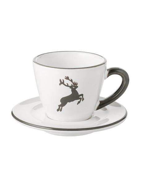 Espressokop en schotel for you Gourmet Grey Deer, 2-delig, Porselein, Fine Bone China, Grijs, wit, 60 ml