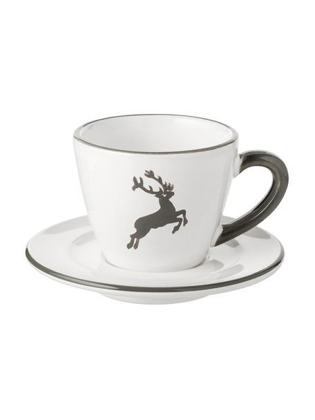 Juego de taza y plato Gourmet Grauer Hirsch, 2pzas., Cerámica, Gris, blanco, 60 ml