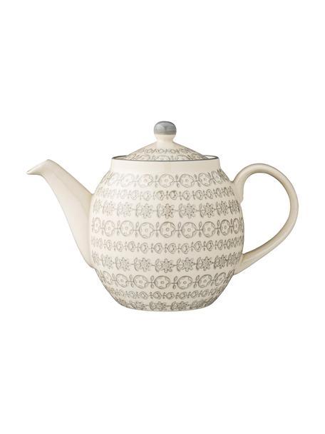 Teiera fatta a mano con piccolo motivo Karine, 1.2 L, Gres, Grigio, color crema, Ø 24 x Alt. 16 cm