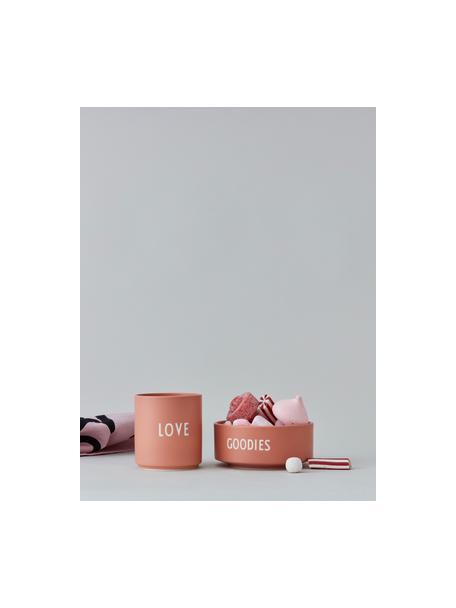 Design kom GOODIES in rood met opschrift, Beenderporselein (porselein) Fine Bone China is een zacht porselein, dat zich vooral onderscheidt door zijn briljante, doorschijnende glans., Terracottarood, wit, Ø 12 x H 5 cm