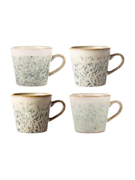 Handgemachte Tassen 70's im Retro Style, 4 Stück, Steingut, Grün, Weiß, Ø 12 x H 9 cm