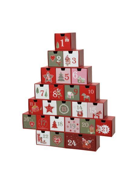 Calendario de adviento Riko, Papel, Rojo, verde, rosa, blanco, An 37 x Al 44 cm