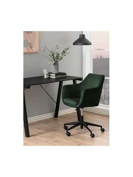 Fluwelen bureaustoel Nora, in hoogte verstelbaar, Bekleding: polyester (fluweel), Frame: gepoedercoat metaal, Bosgroen, zwart, 58 x 58 cm