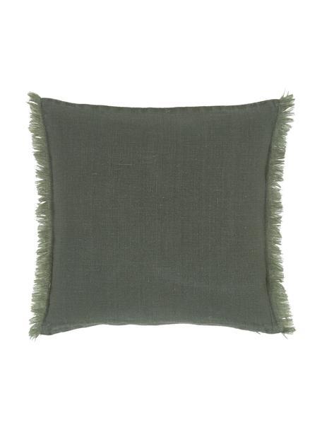 Leinen-Kissenhülle Luana in Grün mit Fransen, 100% Leinen  Leinen hat von Natur aus eher eine grobe Haptik und einen natürlichen Knitterlook. Die hohe Reißfestigkeit macht Leinen scheuerfest und strapazierfähig., Grün, 40 x 40 cm