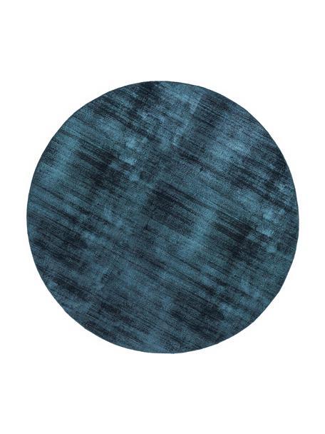 Ronde viscose vloerkleed Jane in donkerblauw, handgeweven, Bovenzijde: 100% viscose, Onderzijde: 100% katoen, Donkerblauw, Ø 115 cm (maat XS)