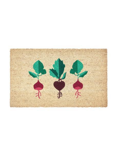 Deurmat Radijzen, Bovenzijde: kokosvezels, Onderzijde: vinyl, Beige, roze, groen, 45 x 75 cm