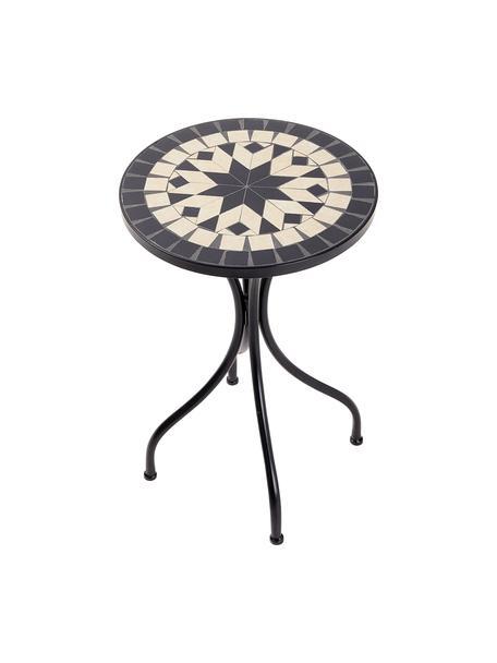 Gartenbeistelltisch Palazzo, Tischplatte: Keramik-Mosaiksteine, Beine: Metall, pulverbeschichtet, Creme, Schwarz, Ø 35 cm