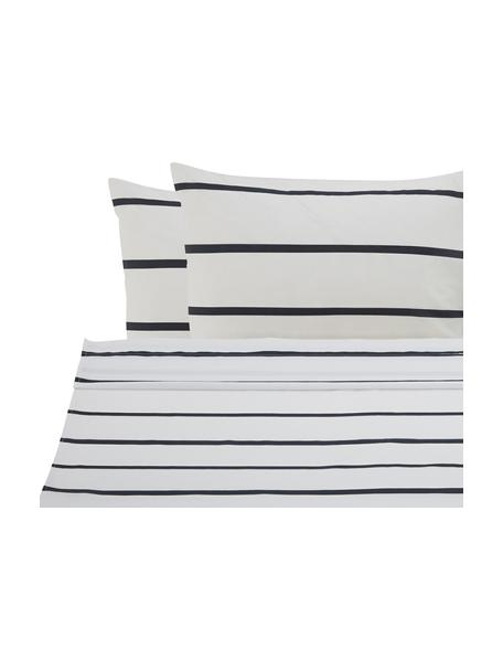 Set lenzuola in cotone ranforce Blush, Tessuto: Renforcé Numero di fili 1, Bianco, nero, rosa, 240 x 270 cm + 2 federe 50 x 75 cm