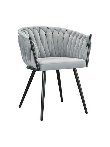 Sedia con braccioli in velluto grigio Larissa, Rivestimento: velluto (100% poliestere), Gambe: metallo, Velluto grigio, gambe nero, Larg. 63 x Prof. 55 cm