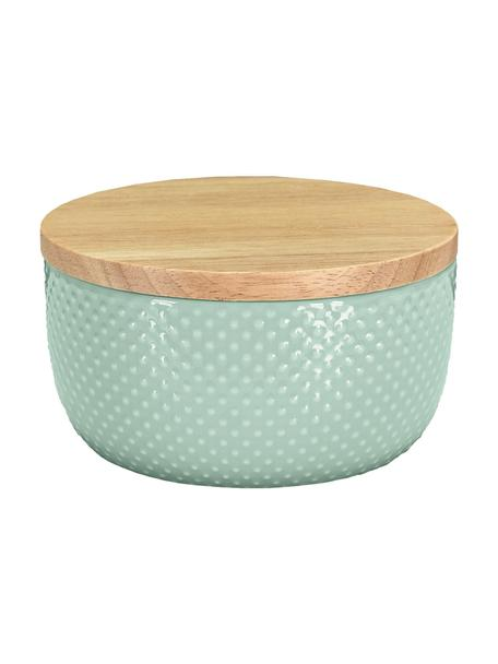 Bote para el baño de gres y bambú Dotty, Verde eucalipto, Ø 11 x Al 7 cm