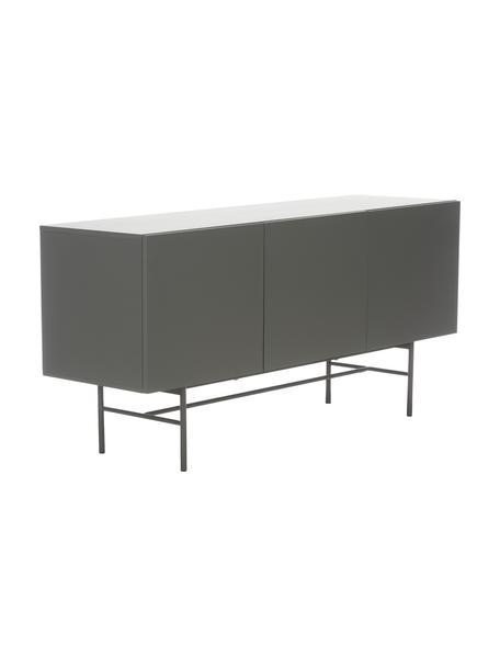 Modern dressoir Anders met 3 deuren in grijs, Frame: gelakt MDF, Poten: gepoedercoat metaal, Grijs, 160 x 79 cm