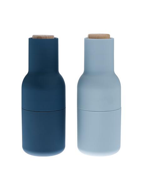 Designer Salz- & Pfeffermühle Bottle Grinder in Blautönen mit Holzdeckel, Korpus: Kunststoff, Mahlwerk: Keramik, Deckel: Holz, Blau, Hellblau, Braun, Ø 8 x H 21 cm