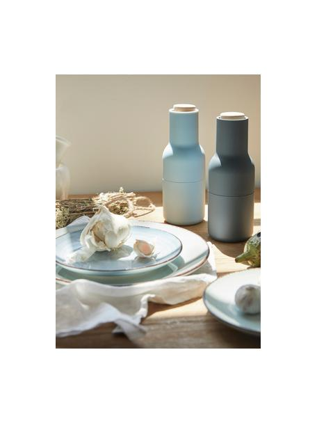 Set  2 macina spezie Bottle Grinder, Struttura: materiale sintetico, Coperchio: legno, Blu, azzurro, marrone, Ø 8 x Alt. 21 cm