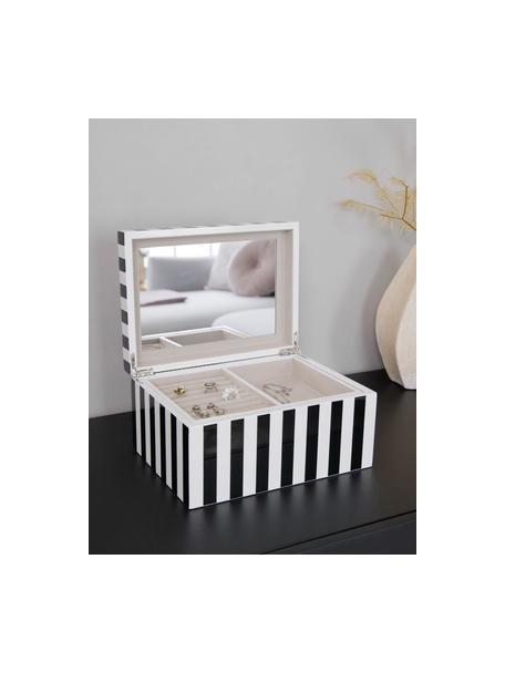 Schmuckbox Taylor mit Spiegel, Kästchen: Mitteldichte Holzfaserpla, Unterseite: Samt zur Schonung der Möb, Schwarz/Weiß gestreift, 26 x 13 cm