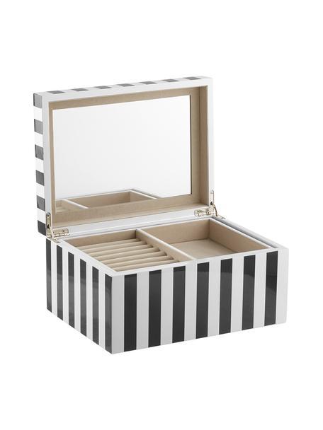 Portagioie con specchio Taylor, Scatola: pannello di fibra a media, Nero/bianco rigato, Larg. 26 x Alt. 13 cm