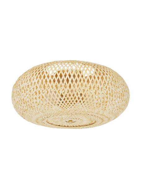 Design plafondlamp Evelyn van bamboehout, Lampenkap: bamboe, Baldakijn: gepoedercoat metaal, Lampenkap: bamboekleurig. Baldakijn en bevestiging: mat beige, Ø 50 x H 20 cm