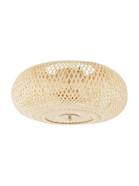Plafón de bambú de diseño Evelyn, Pantalla: bambú, Anclaje: metal con pintura en polv, Beige, dorado, Ø 50 x Al 20 cm