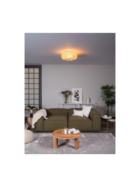 Plafón de bambú de diseño Evelyn, Pantalla: bambú, Anclaje: metal con pintura en polv, Bambú, beige, Ø 50 x Al 20 cm