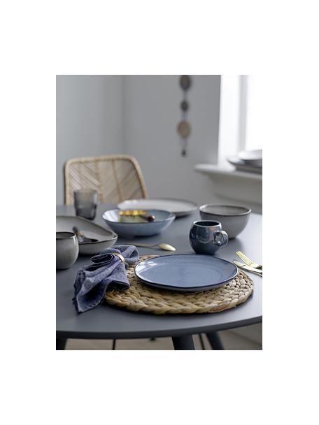 Piatto piano in gres blu fatto a mano Sandrine, Gres, Tonalità blu, Ø 22 x Alt. 2 cm
