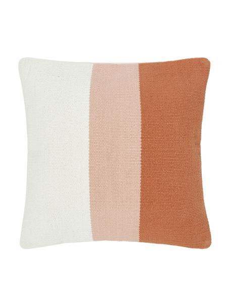 Handgeweven kussenhoes Lopes met strepen, 100% katoen, Oranje,roze,wit, 45 x 45 cm