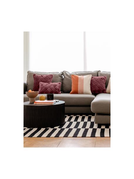 Federa arredo tessuta a mano a righe Lopes, 100% cotone, Arancione, rosa, bianco, Larg. 45 x Lung. 45 cm