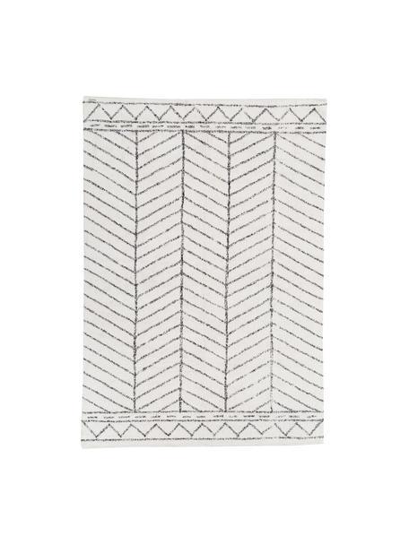 Vloerkleed Firre met patroon, 95% katoen, 5% andere vezels, Gebroken wit, zwart, 200 x 300 cm