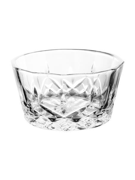 Glas-Dipschälchen Harvey mit Kristallrelief, 4 Stück, Glas, Transparent, Ø 11 x H 6 cm