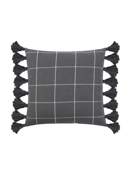 Poszewka na poduszkę z chwostami Amano, 100% bawełna, Ciemnyszary, biały, S 45 x D 45 cm