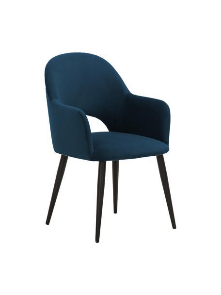 Krzesło z podłokietnikami z aksamitu Rachel, Tapicerka: aksamit (poliester) Dzięk, Nogi: metal malowany proszkowo, Aksamitny ciemny niebieski, S 56 x G 70 cm