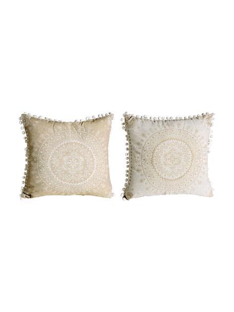 Kussensset met patroon Paloma met decoratieve pompoms, met vulling, 2 stuks, Beige, wit, 45 x 45 cm