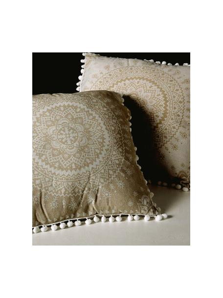 Kussen met patroon Paloma met vulling, 2 stuks, Beige, wit, 45 x 45 cm