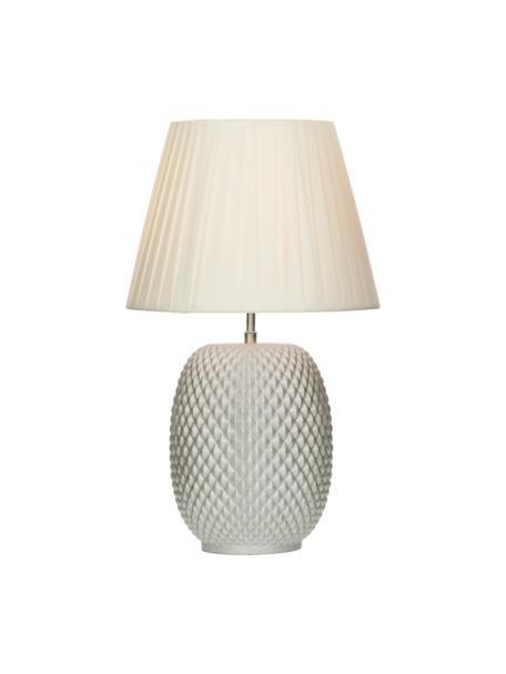 Tischlampe Cornelia aus schimmerndem Glas, Lampenschirm: Polyester, Lampenfuß: Glas, Perlweiß, Weiß, Ø 25 x H 42 cm