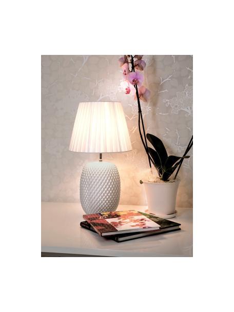 Tafellamp Cornelia van glanzend glas, Lampenkap: polyester, Lampvoet: glas, Parelwit, wit, Ø 25 x H 42 cm